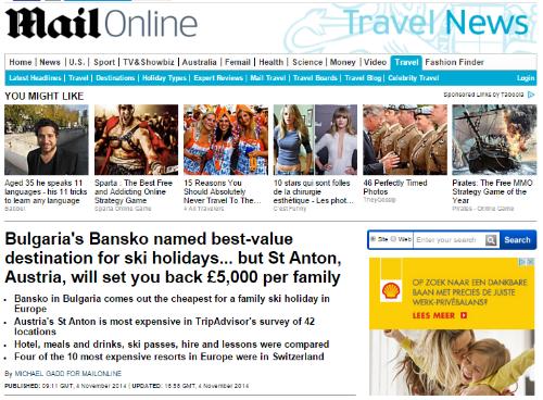 daily mail named Bansko as best value for money ski resort